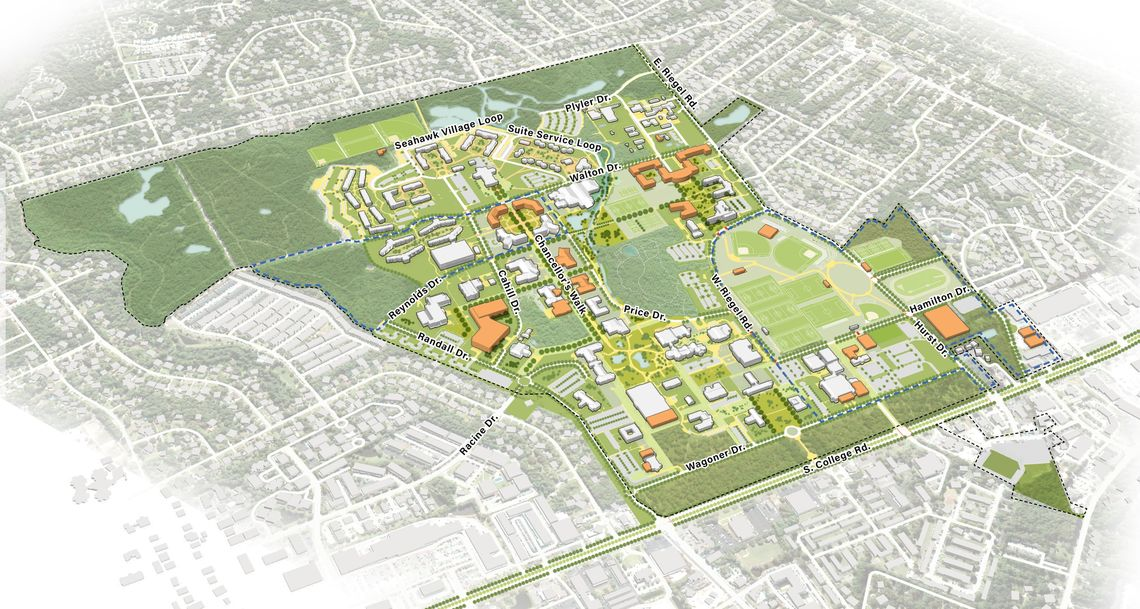 7 illustrative campus plan aerial view