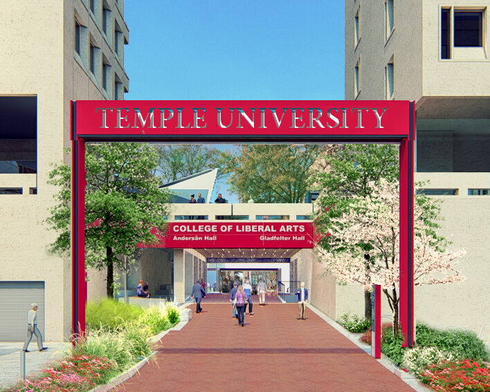 Temple University Landscape Master Plan  11th street entry spring